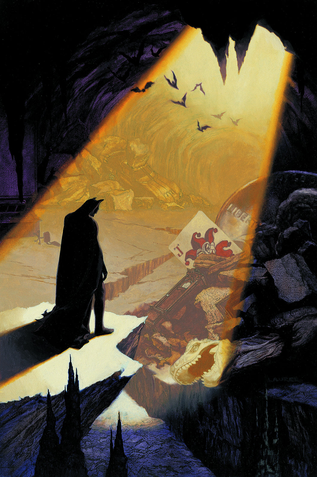 Batman stands in a rift of light in his crumbled Batcave.