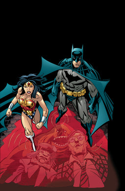 Batman and Wonder Woman stand in a pool of blood with the reflections of Clayface, the Mad Hatter and Matches Malone.