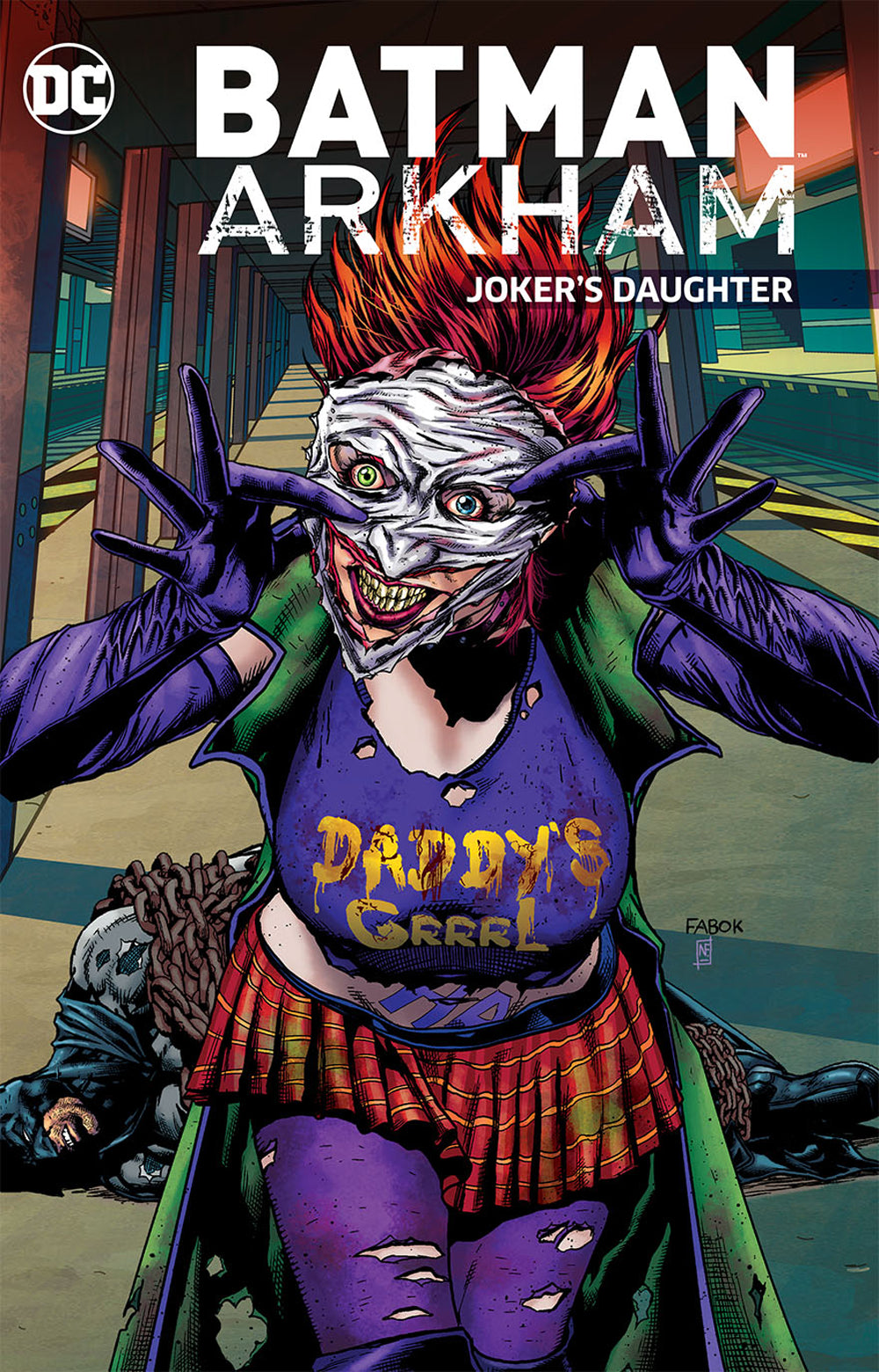 Joker's Daughter wears what appears to be the flesh of the Joker's face on top of hers.