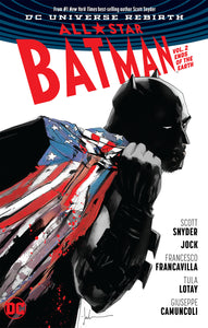 Batman carries a bloodied & torn US flag on his back.