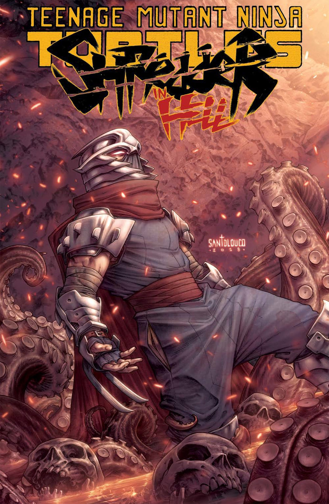 shredder stands in a pit of skulls and tenacled horror.