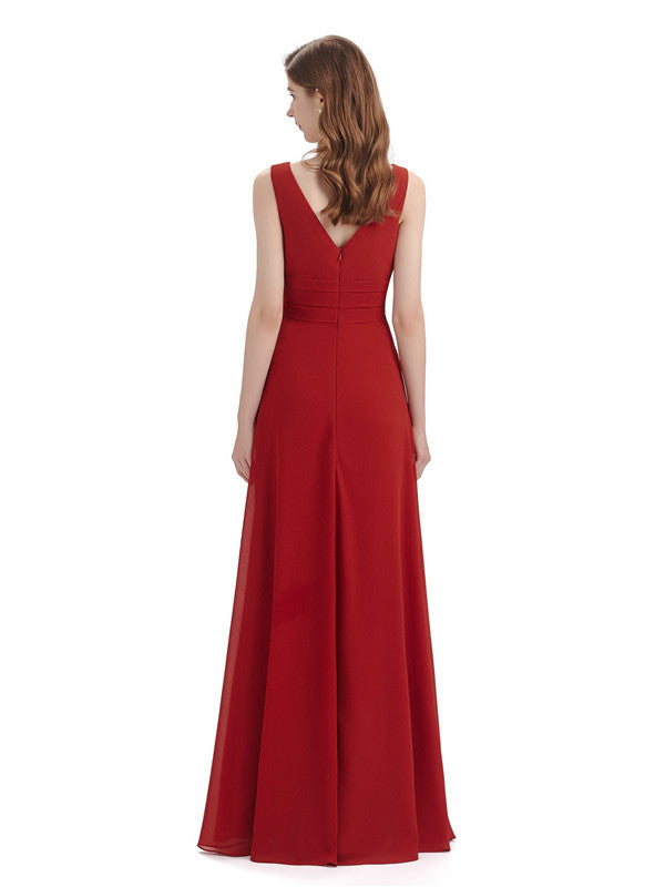 A-line Sleeveless V-Neck Side Slit Floor-Length Bridesmaid Dresses