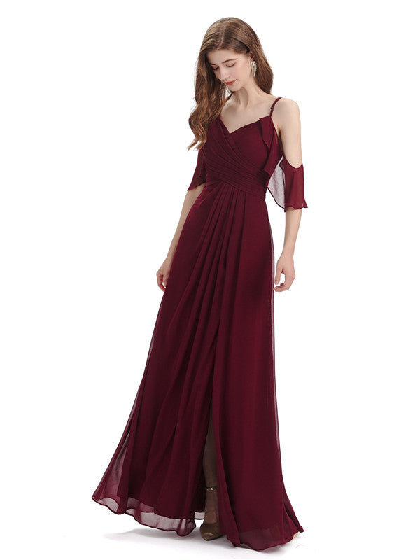 A-line off the Shoulder Spaghetti Straps Floor-Length Bridesmaid Dresses