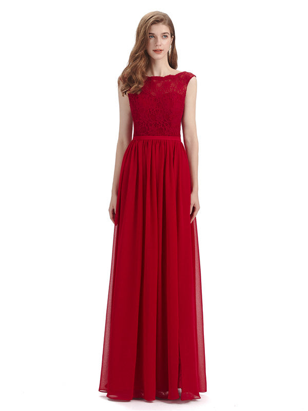 A-line Cheap Top Lace Floor-Length Bridesmaid Dresses