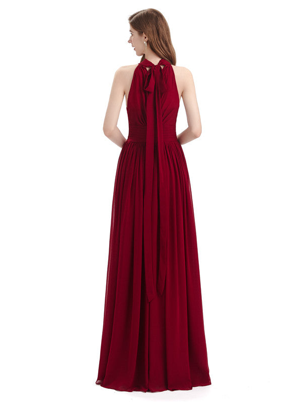 A-line Halter Elegant Chiffon Long Bridesmaid Dresses