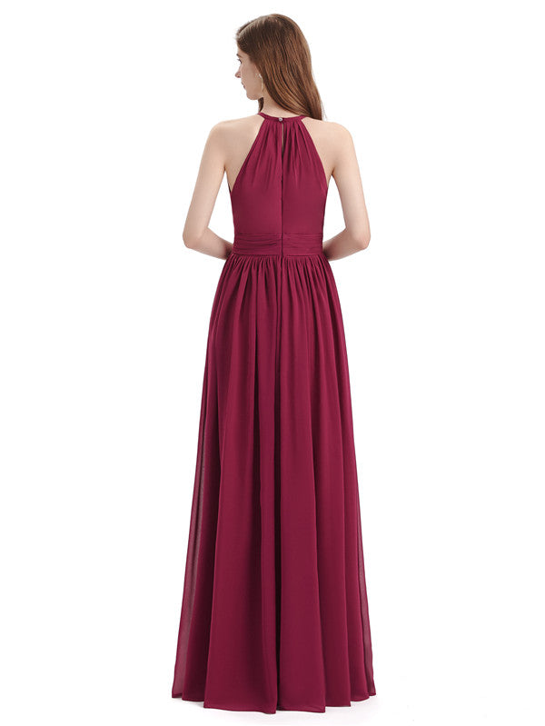 A-line Halter Simple Floor-Length Bridesmaid Dresses