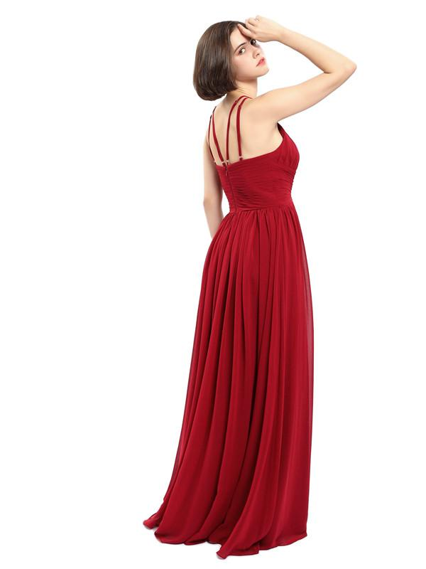 A-line Chiffon Sleeveless Elegant Long Bridesmaid Dresses