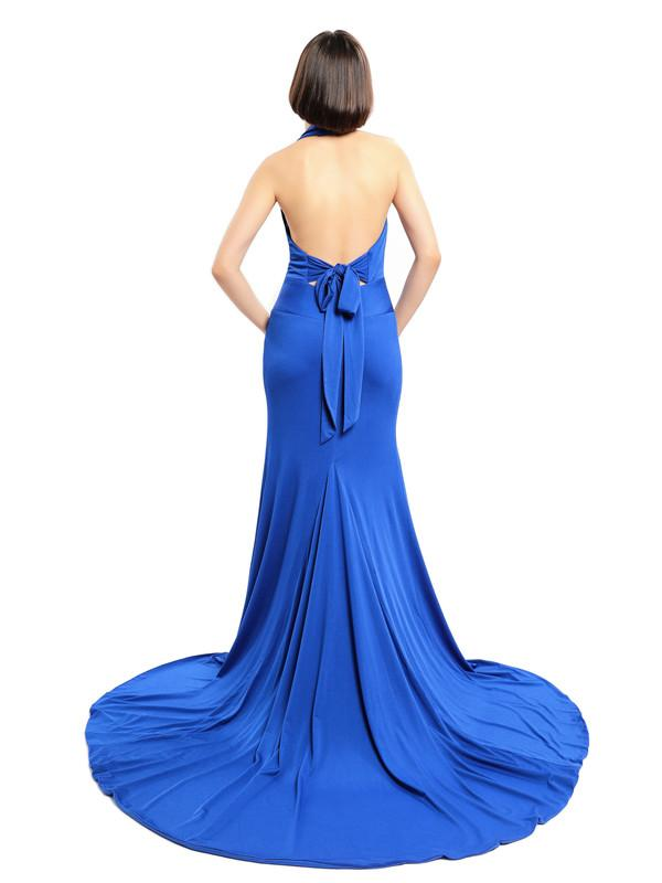 Deep V-neck Halter Mermaid Long Bridesmaid Dresses