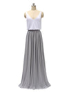 Two Pieces A-line V Neck Floor Length Bridesmaid Dresses