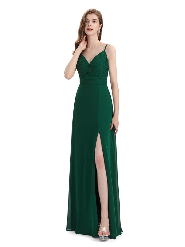 Chiffon Spaghetti Strap V-neck Floor-Length Long Bridesmaid Dresses