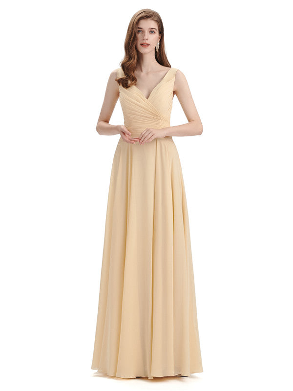 Simple V-neck Chiffon Floor-Length Long Bridesmaid Dresses