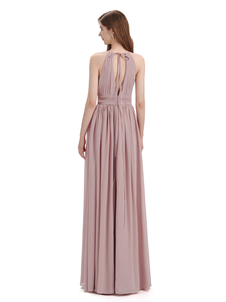 A-Line Halter Chiffon Pleats Floor Length Bridesmaid Dresses