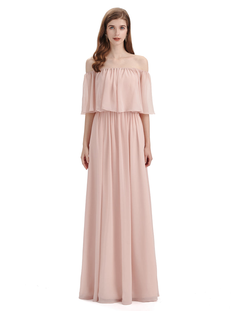 Simple A-Line Off The Shoulder Chiffon Long Bridesmaid Dresses