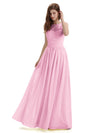 A-Line Round Neck Lace Pleats Floor Length Bridesmaid Dresses