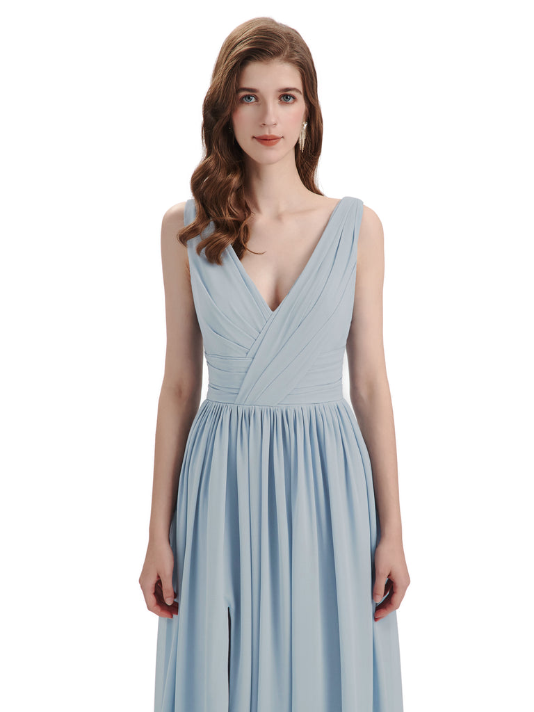 A-Line V-Neck Sleeveless Split Side Chiffon Long Bridesmaid Dresses