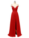 Honest Chiffon Spaghetti Straps Slit Long Bridesmaid Dresses