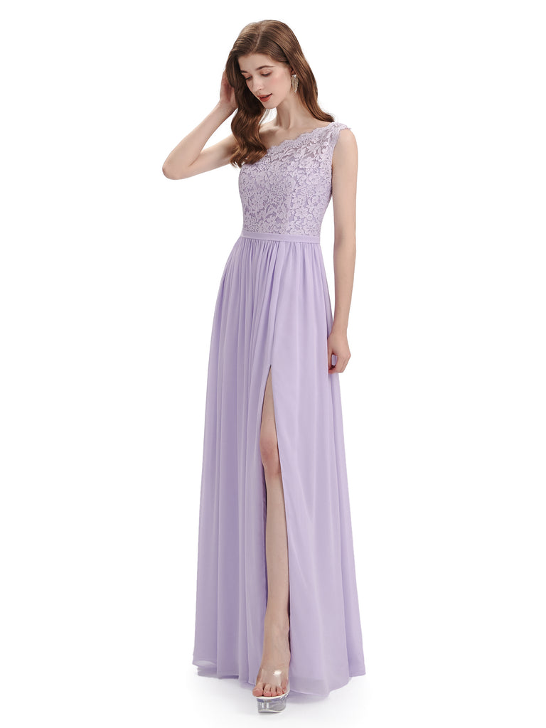 Elegant One Shoulder Side Slit Floor Lenght Bridesmaid Dresses