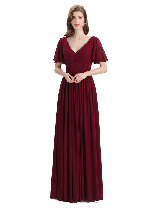 Chiffon A-line Short Sleeves Elegant Floor-Length Bridesmaid Dresses