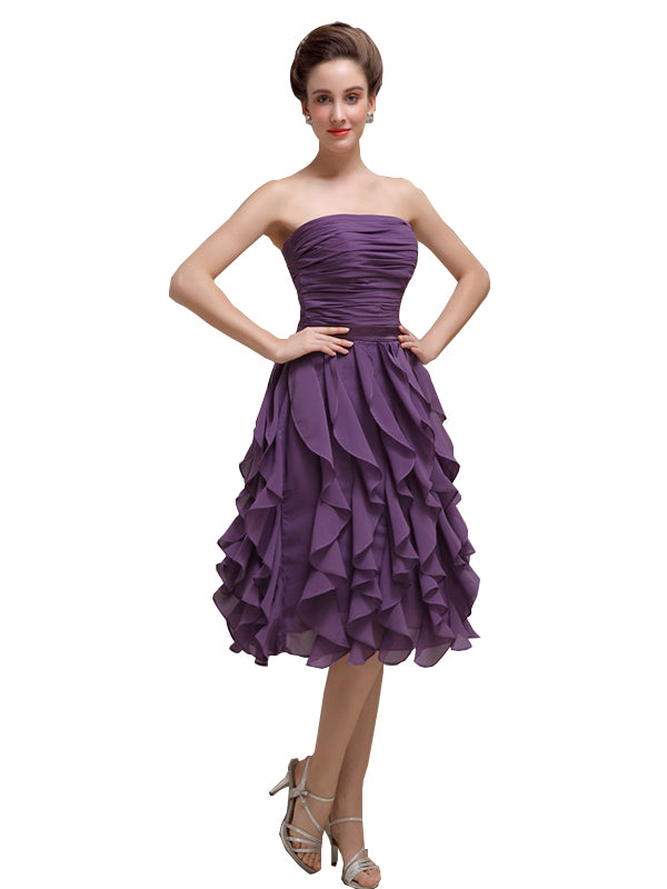 Elegant Strapless Princess A-line Knee-Length Bridesmaid Dresses