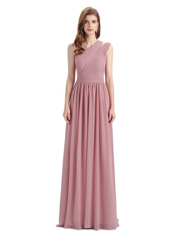 Charming One-shoulder A-line Chiffion Floor-Length Bridesmaid Dresses