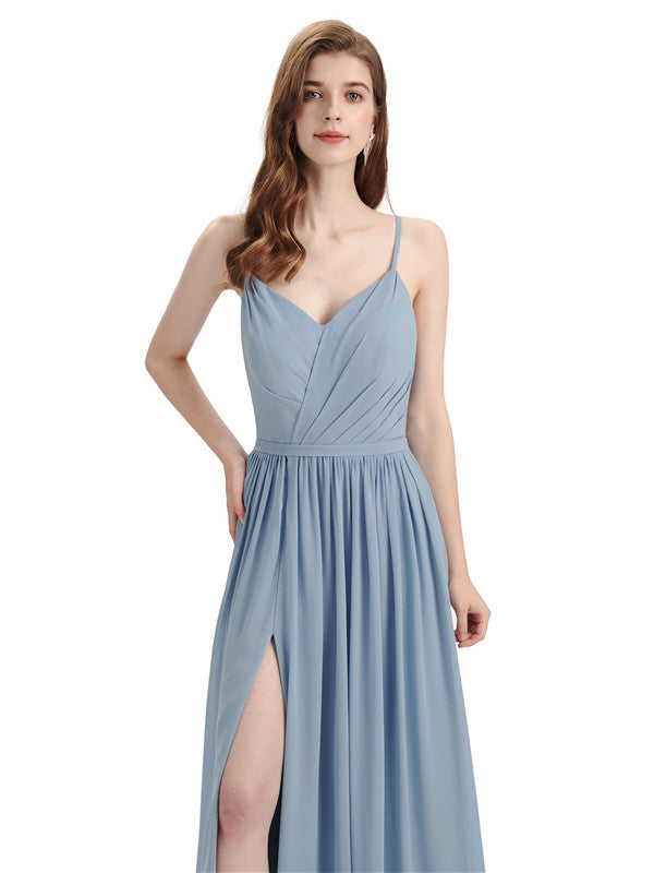 Spaghetti Straps A-line Chiffon Side Slit Long Bridesmaid Dresses