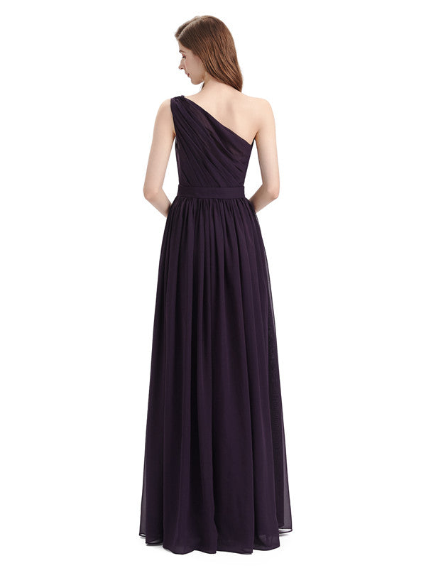 Popular One Shoulder A-line Floor-length Chiffon Bridesmaid Dresses