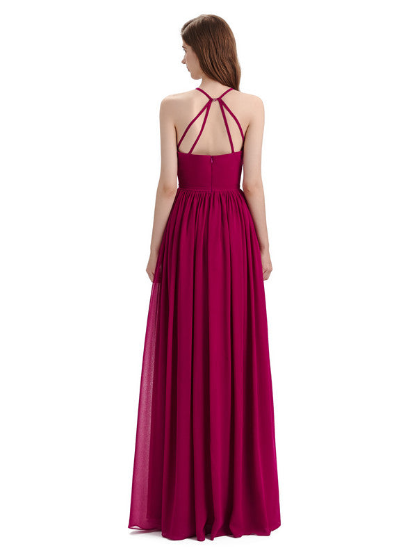 Stunning Chiffon A-line Long Cross-back Bridesmaid Dresses