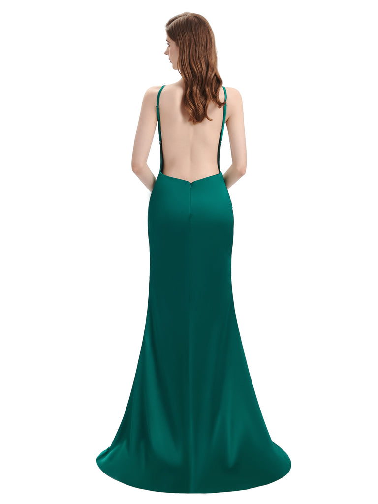 V-neck Sleeveless Split Side Floor-Length Bridesmaid Dresses
