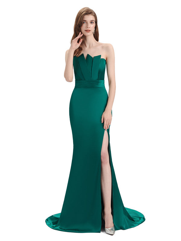 Elegant Strapless Split Side Floor-Length Bridesmaid Dresses