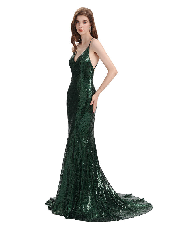 Sexy Spaghetti Strap Sequins Floor-Length Bridesmaid Dresses