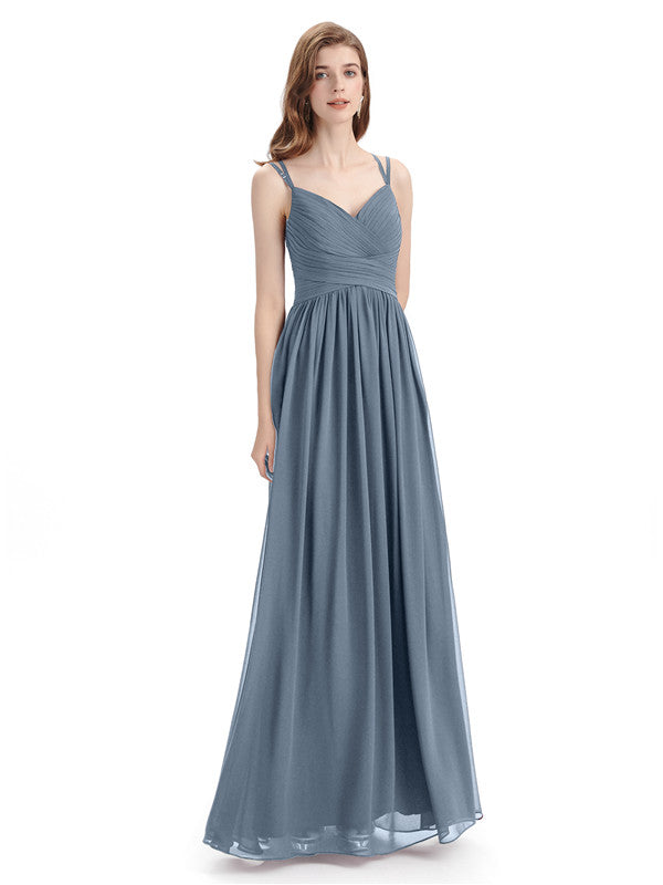 Spaghetti Straps Chiffon A-line Sleeveless V-neck Floor-Length Bridesmaid Dresses