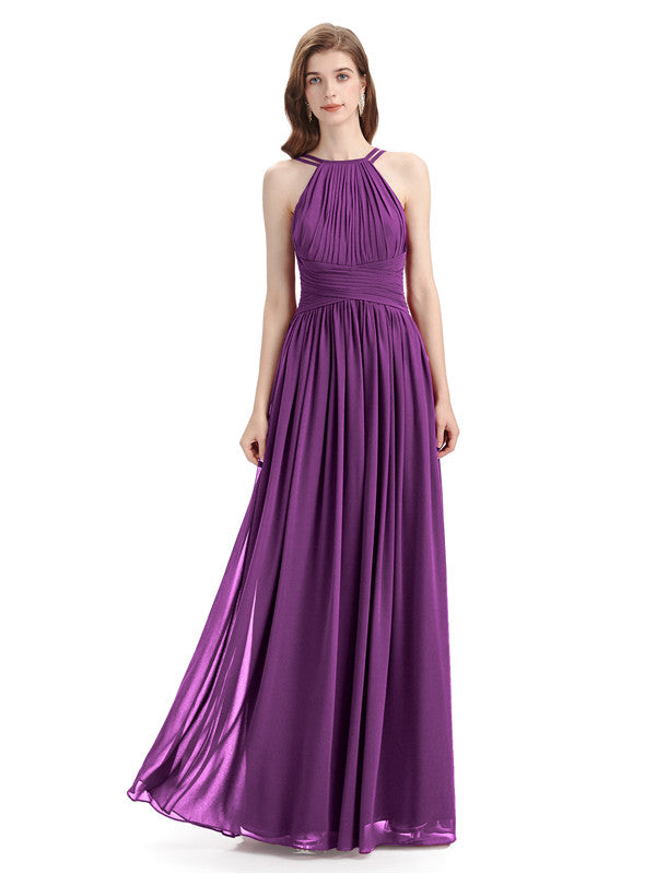 Charming Halter Chiffon A-line Sleeveless Floor-Length Bridesmaid Dresses