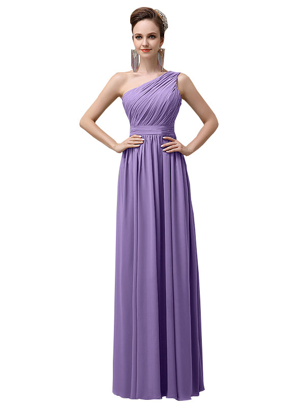 Charming One-shoulder A-line Chiffon Floor-Length Long Bridesmaid Dresses