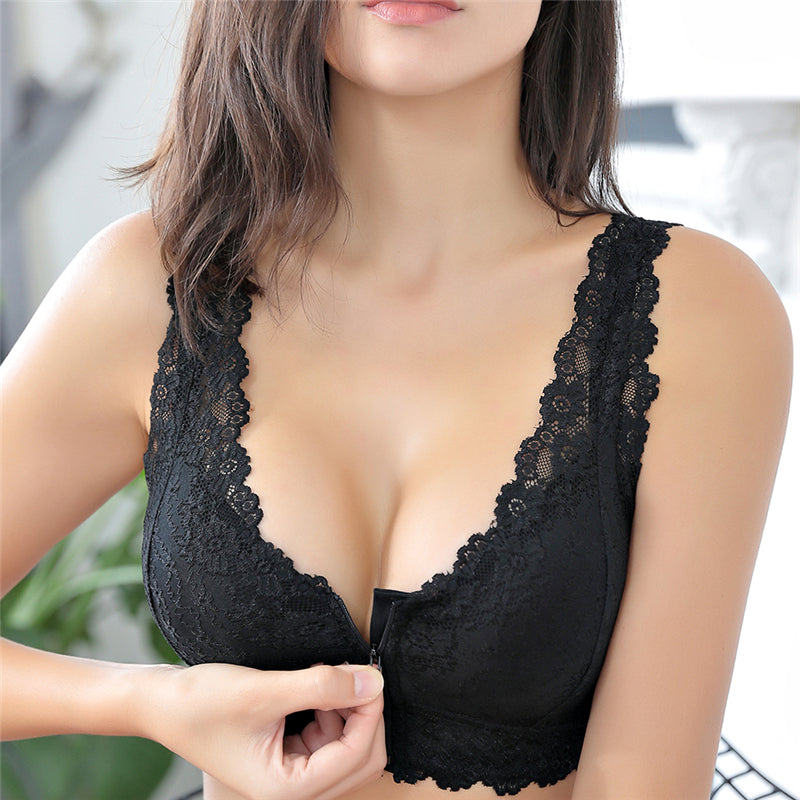 Front Zipper Full Cup Size Lace Push Up Bra