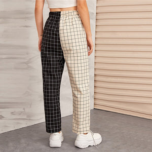 Two Tone Elastic High Waist Pants
