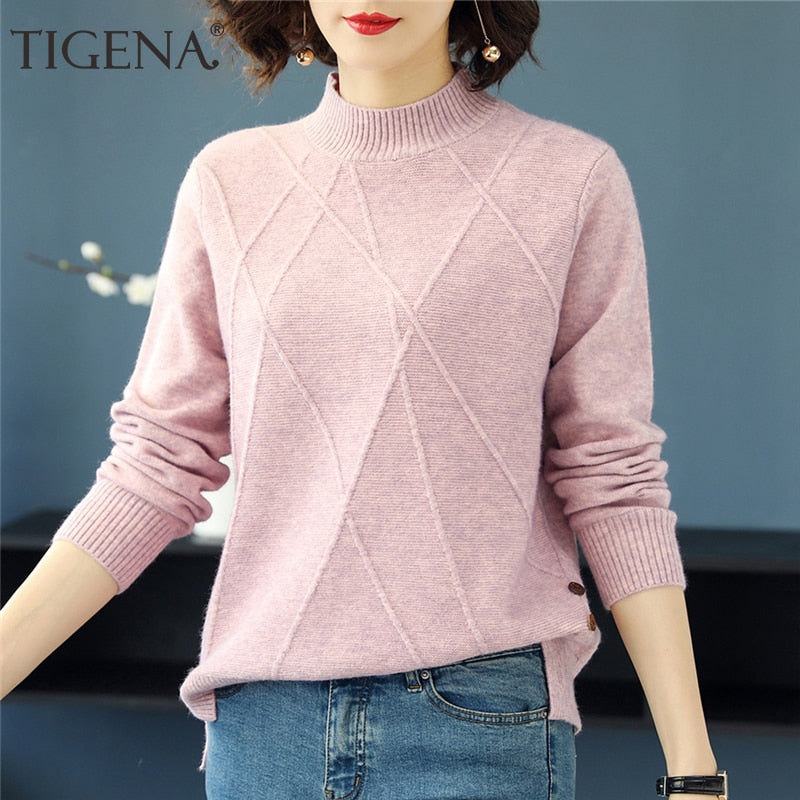 Turtle Neck Long Sleeve Knitted Pullover/ Cardigan/ Sweater