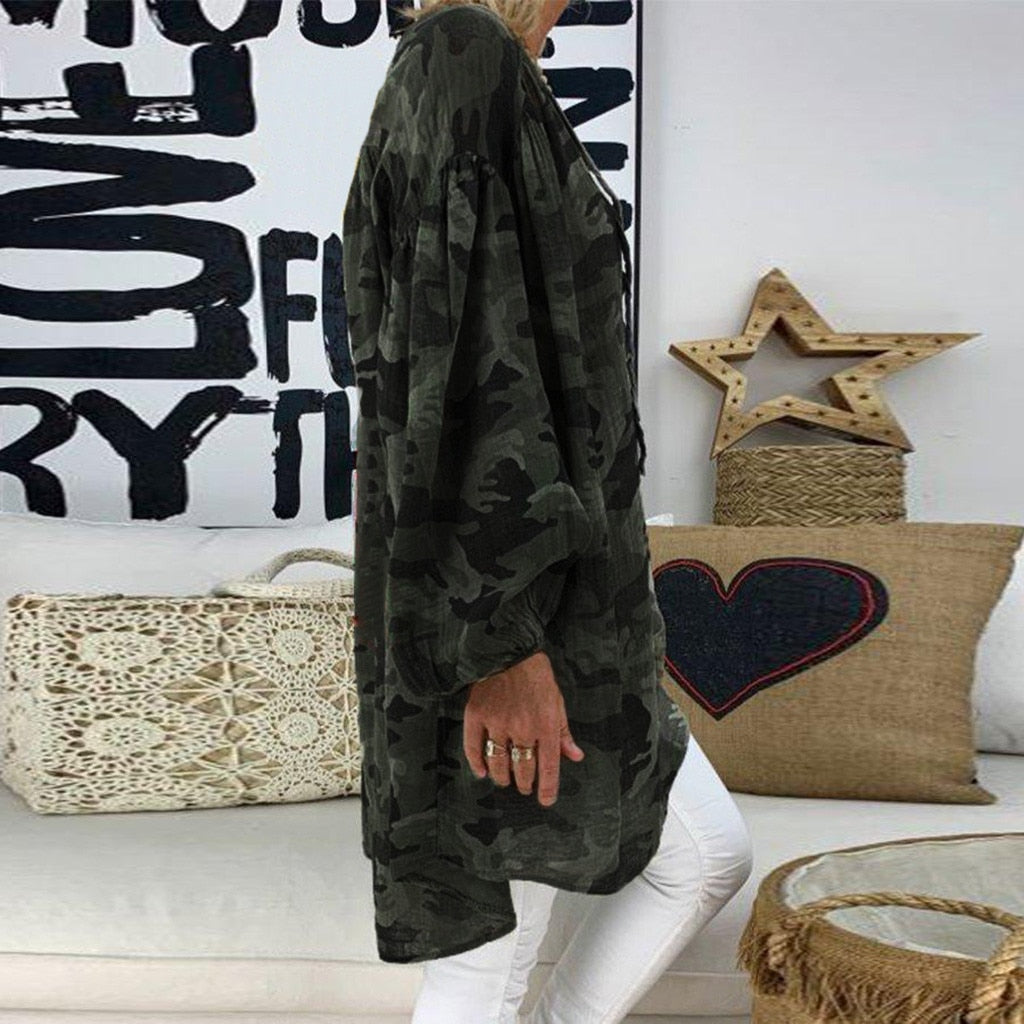 V Neck Loose Camouflage Long Sleeves T-Shirt