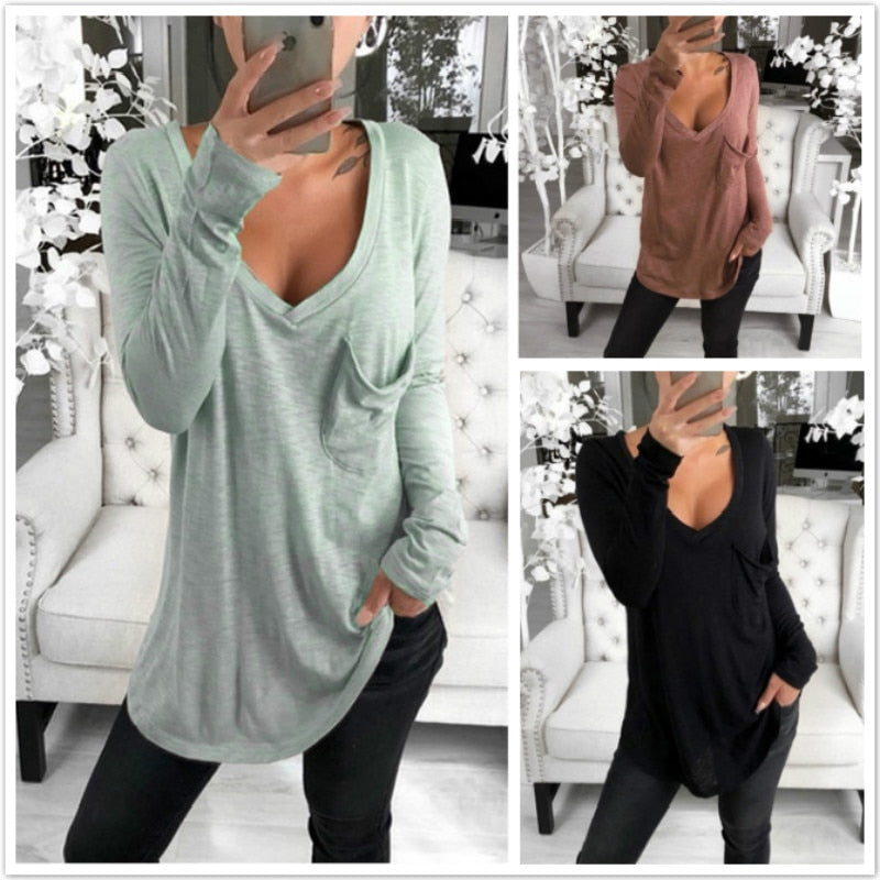 V Neck Long Sleeves Long Pullover / T-Shirt