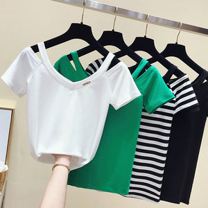 V Neck Open Shoulder Cut T-Shirt/Pullover Short Sleeves
