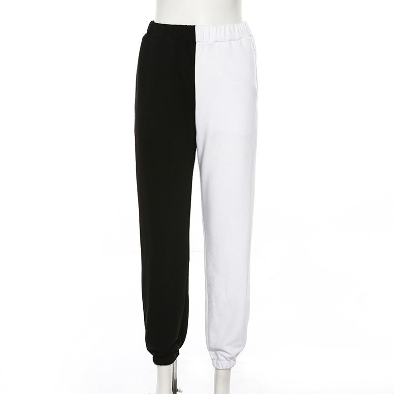 High Waist Contrasting Color Ankle Length Pants/Trouser