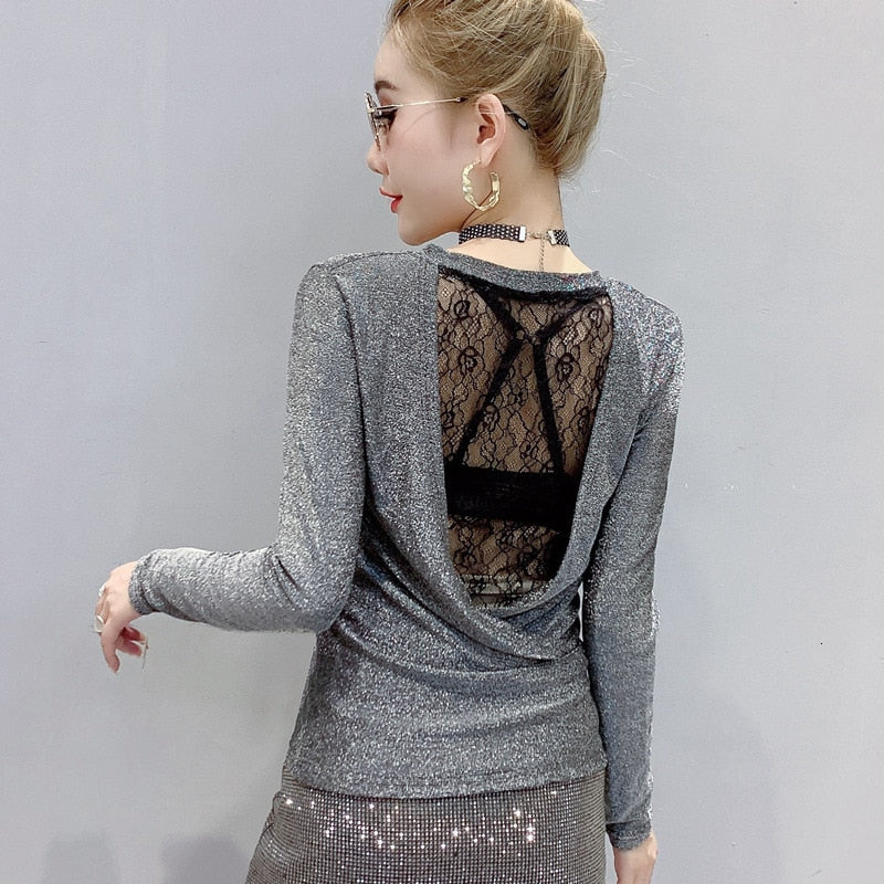 Backless Shiny Long Sleeves T-shirt