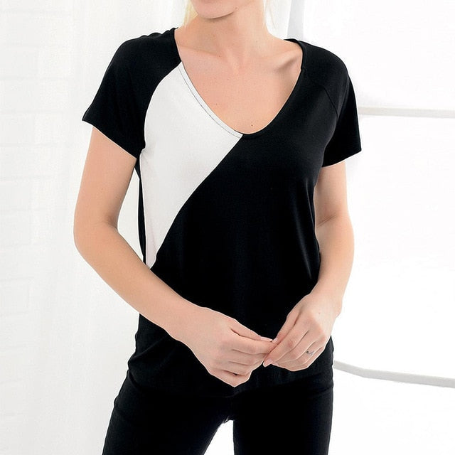 Broad V Neck Color Block Casual Short Sleeves T-Shirt