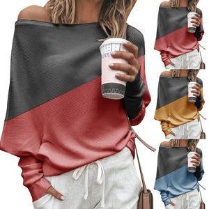 Off Shoulder Long Sleeves Color Block Casual T-Shirt