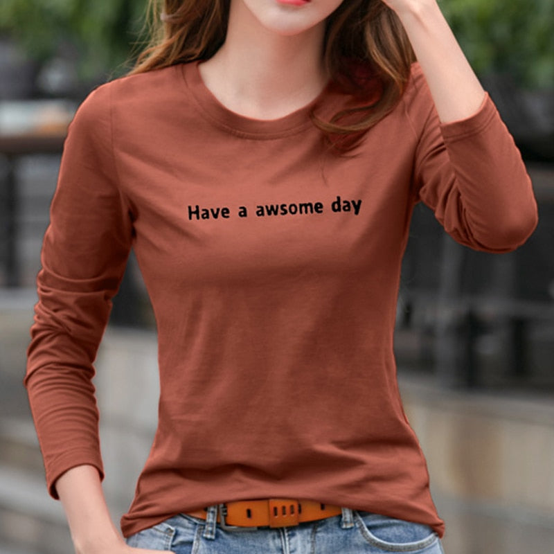 Round-Neck Full Sleeves Printed Long T-Shirt