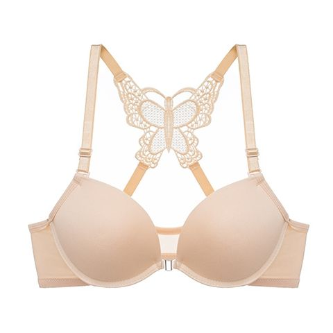 Front Closure Butterfly beauty back Push Up Sexy Underwire Bra || Transparent Lace Panty