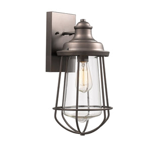 """LUCAS"" Industrial-style 1 Light Rubbed Bronze Outdoor Wall Sconce 16"" Tall - renaissance Lighting"