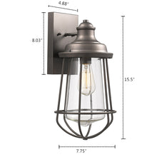 "Load image into Gallery viewer, ""LUCAS"" Industrial-style 1 Light Rubbed Bronze Outdoor Wall Sconce 16"" Tall - renaissance Lighting"