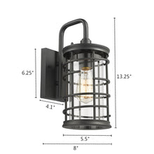 "Load image into Gallery viewer, ""LAUREL""  1 Light Textured Black Outdoor Wall Sconce - renaissance Lighting"