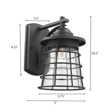 "Load image into Gallery viewer, ""DAMON""   Textured Black Outdoor Wall Sconce 11"" Tall - renaissance Lighting"