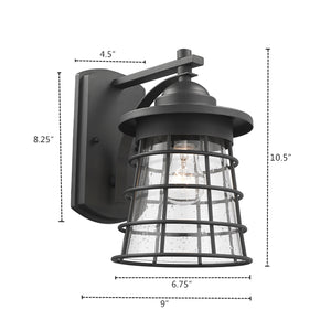 """DAMON""   Textured Black Outdoor Wall Sconce 11"" Tall - renaissance Lighting"